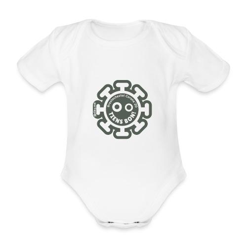Corona Virus #restecheztoi gris - Body orgánico de manga corta para bebé