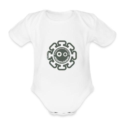 Corona Virus #mequedoencasa gris - Body orgánico de manga corta para bebé