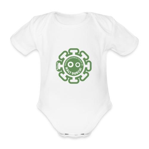 Corona Virus #WirBleibenZuhause grün - Body orgánico de manga corta para bebé
