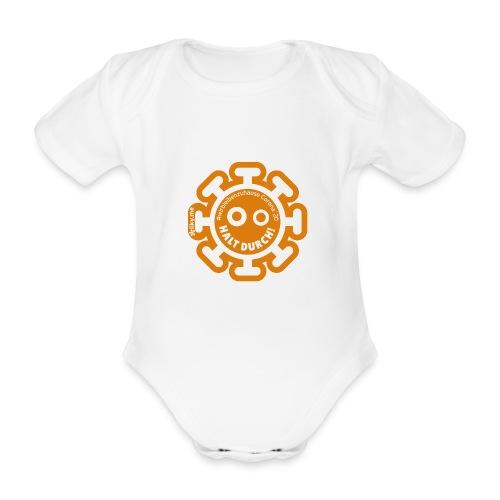 Corona Virus #WirBleibenZuhause orange - Body orgánico de manga corta para bebé