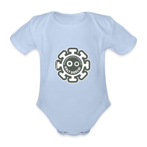 Corona Virus #WirBleibenZuhause grau - Body orgánico de manga corta para bebé