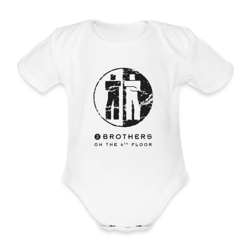 2 Brothers Black text - Organic Short-sleeved Baby Bodysuit