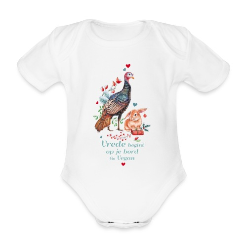 Peace begins on your plate. Go vegan. - Organic Short-sleeved Baby Bodysuit