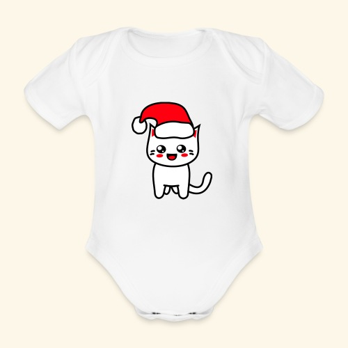 Kawaii Kitteh Christmashat - Baby Bio-Kurzarm-Body