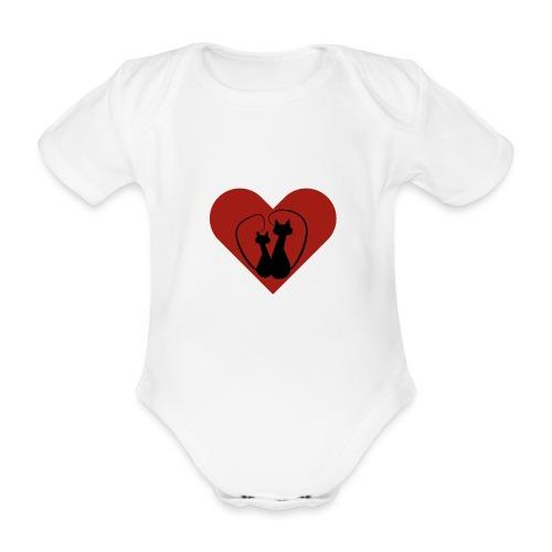 Zwarte lovecats rood hart. Tip cadeau moederdag - Baby bio-rompertje met korte mouwen