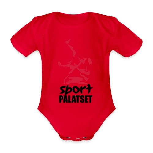 Motiv med svart och röd logga - Ekologisk kortärmad babybody