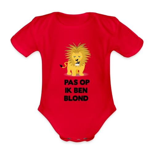 Pas op ik ben blond een cartoon van blonde leeuw - Baby bio-rompertje met korte mouwen