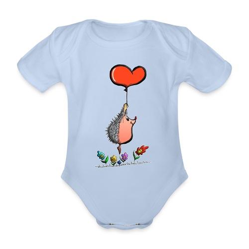 Hérisson avec une ballon pour les amoureux - Body Bébé bio manches courtes