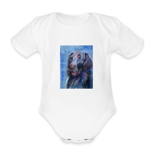 flatcoated retriever - watercolor - Kortærmet babybody, økologisk bomuld