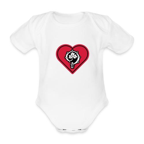 herz shirt weiss hoch 25cm ok - Baby Bio-Kurzarm-Body