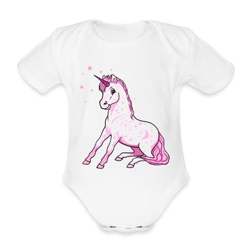 Pünktchen Einhorn Rosa - Baby Bio-Kurzarm-Body