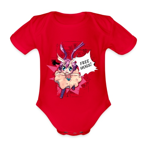 Free hugs (black lines) - Organic Short-sleeved Baby Bodysuit