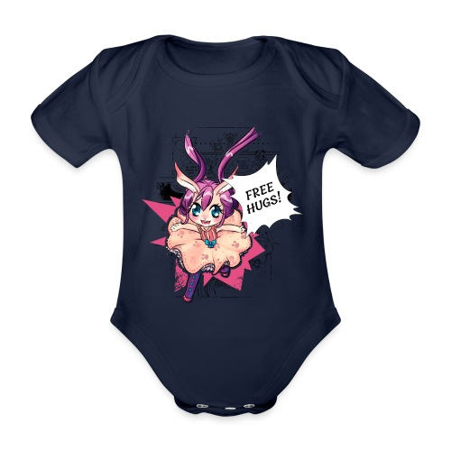 Free hugs (black lines) - Organic Short-sleeved Baby Bodysuit