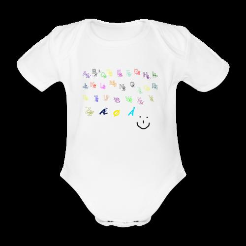 Alfabet Collection - Økologisk kortermet baby-body