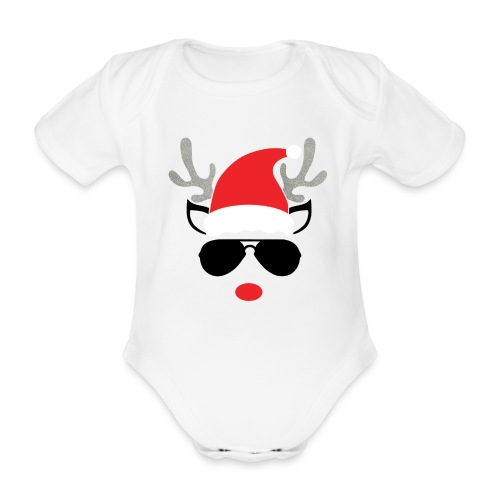 Cute Christmas Reideer with glasses for boys - Organic Short-sleeved Baby Bodysuit