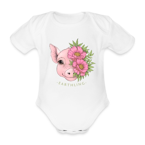Earthling Pig - Ekologisk kortärmad babybody
