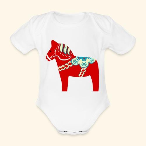 Röd dalahäst - Ekologisk kortärmad babybody