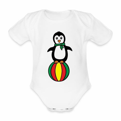 Pinguin auf einem Ball - Baby Bio-Kurzarm-Body