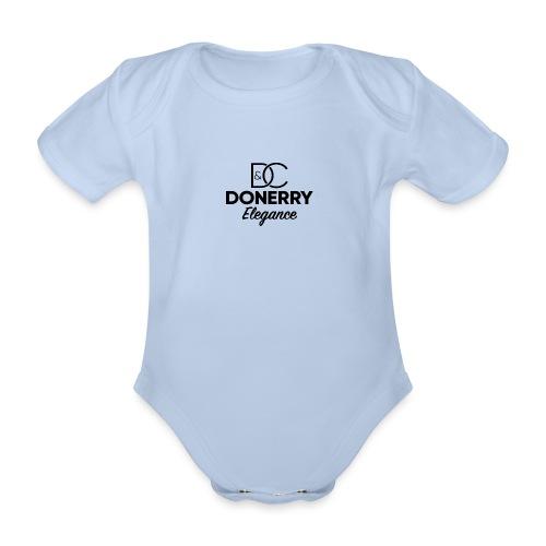 Donerry Elegance Black Logo on White - Organic Short-sleeved Baby Bodysuit