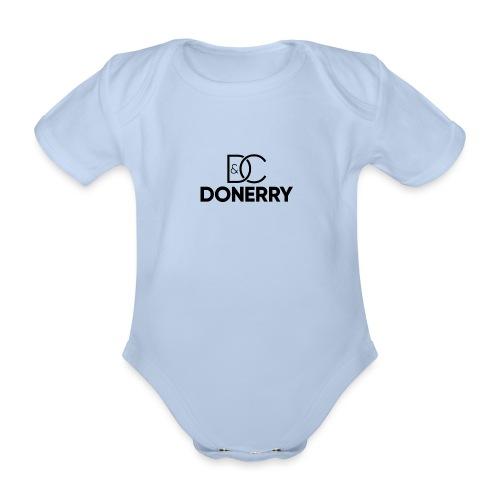 DONERRY Black Logo on White - Organic Short-sleeved Baby Bodysuit