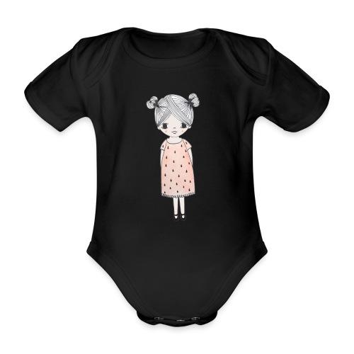 lachend meisje met knotjes - Baby bio-rompertje met korte mouwen