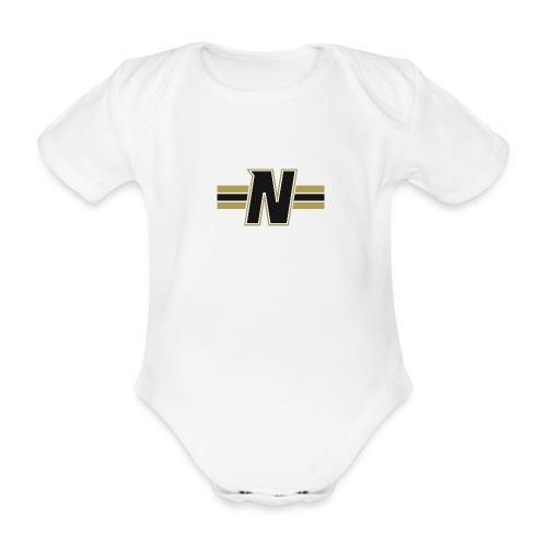 Nordic Steel Black N with stripes - Organic Short-sleeved Baby Bodysuit