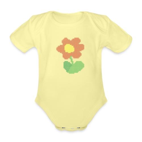 Ellys blomst - Kortærmet babybody, økologisk bomuld