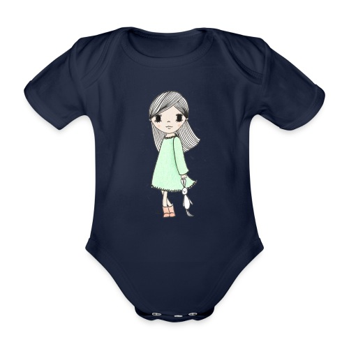 meisje met knuffel - Baby bio-rompertje met korte mouwen