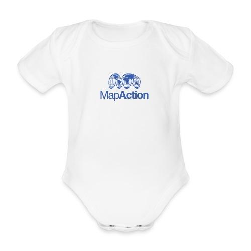MapAction Blue on transparent - Organic Short-sleeved Baby Bodysuit