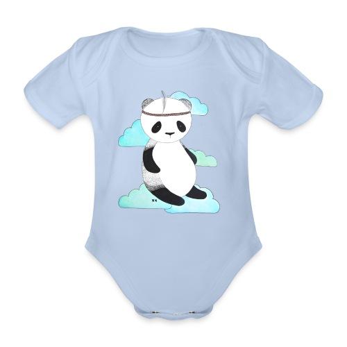 pandabeer - Baby bio-rompertje met korte mouwen