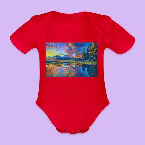 Paesaggio al tramonto con laghetto stilizzato - Body ecologico per neonato a manica corta