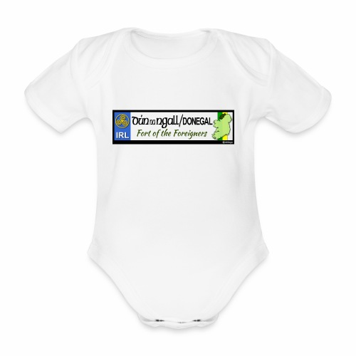 DONEGAL, IRELAND: licence plate tag style decal - Organic Short-sleeved Baby Bodysuit