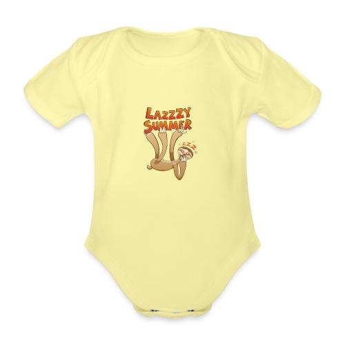 Sleepy sloth yawning and enjoying a lazy summer - Organic Short-sleeved Baby Bodysuit