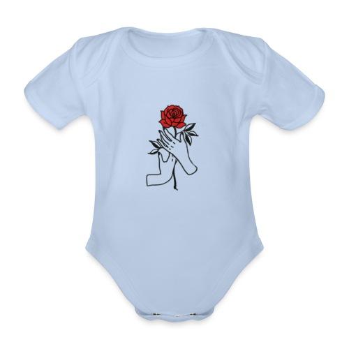 Fiore rosso - Body ecologico per neonato a manica corta