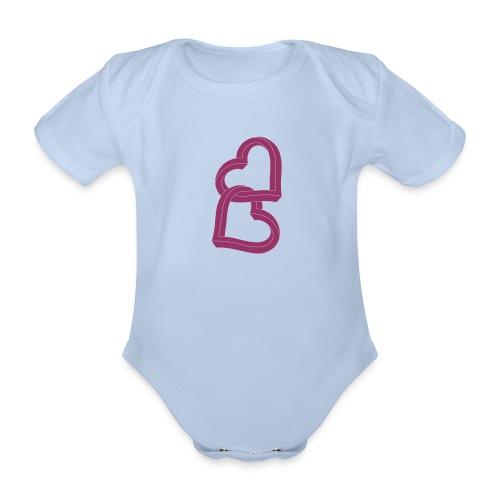 Due cuori uniti ca27 - Body ecologico per neonato a manica corta