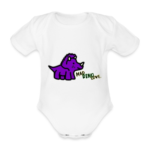 Trixie Mad Dino Love png - Organic Short-sleeved Baby Bodysuit