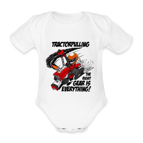 0966 tractorpulling - Baby bio-rompertje met korte mouwen