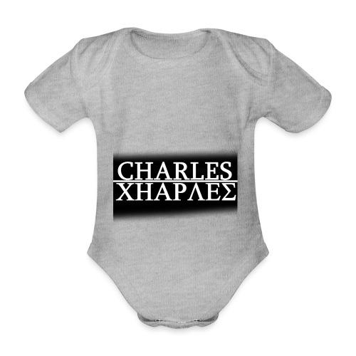 CHARLES CHARLES BLACK AND WHITE - Organic Short-sleeved Baby Bodysuit