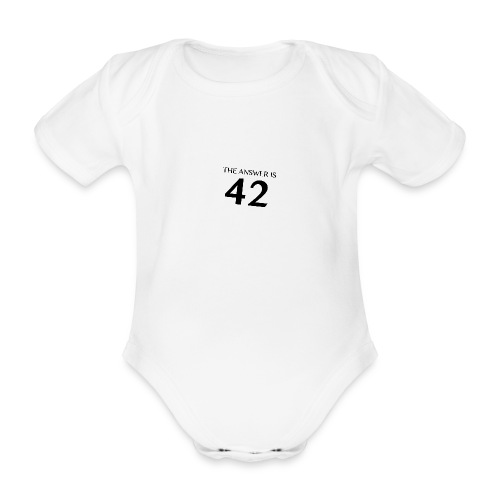 The Answer is 42 Black - Organic Short-sleeved Baby Bodysuit