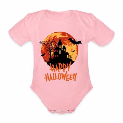Bloodmoon Haunted House Halloween Design - Baby Bio-Kurzarm-Body