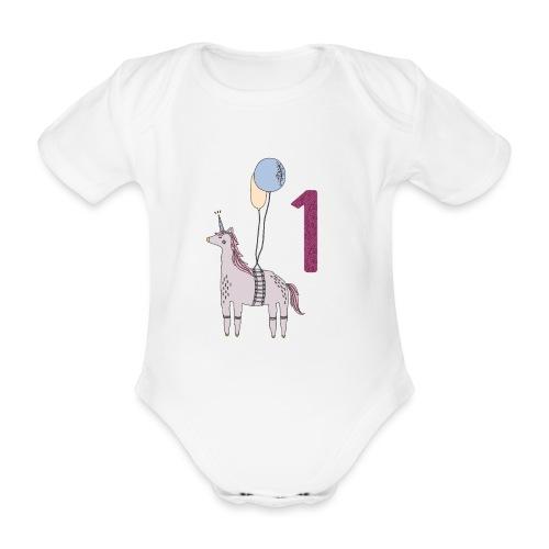 1 Jahr Einhorn / Geschenkidee zum 1. Geburtstag - Baby Bio-Kurzarm-Body