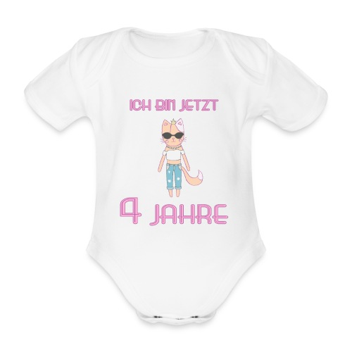 Ich bin jetzt 4 Jahre / Geschenk zum 4. Geburtstag - Baby Bio-Kurzarm-Body