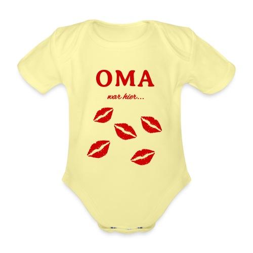 Oma war hier lustiges Oma Baby und Kinder Design - Baby Bio-Kurzarm-Body