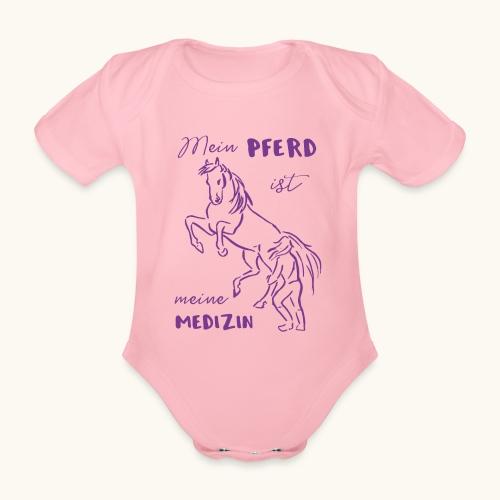 Mein Pferd ist meine Medizin lila Geschenk Spruch - Body Bébé bio manches courtes