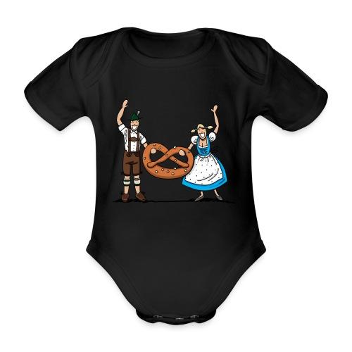 Bayrisches Paar mit Riesenbrezel - Baby Bio-Kurzarm-Body