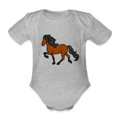 Islandpferd, Brauner, heller - Baby Bio-Kurzarm-Body