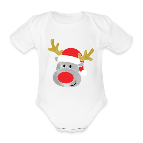 Christmas Reindeer for boys, just add kids name - Organic Short-sleeved Baby Bodysuit