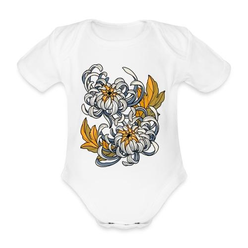Chrysanthèmes enlacés - Body Bébé bio manches courtes