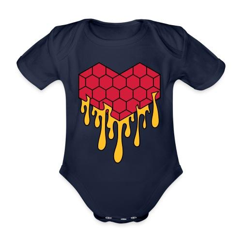 Honey heart cuore miele radeo - Body ecologico per neonato a manica corta