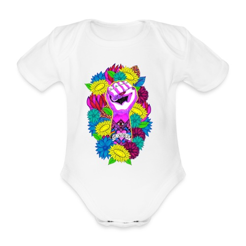 Flower power - Ekologisk kortärmad babybody